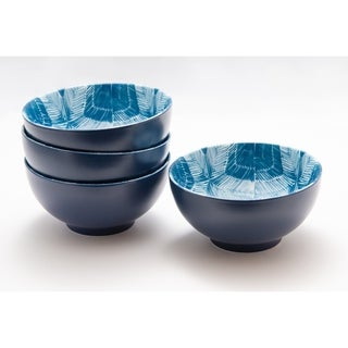 "Red Vanilla Linear Blue Cereal / Pasta Bowls 6"" Set / 4"