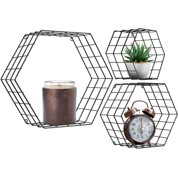 Metal Wire Hexagon Design Wall Mounted Floating Shelves, Set of 3