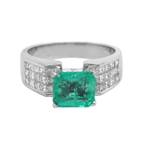 18K White Gold Diamond Emerald Enagagement Ring (G-H, VS1-VS2)