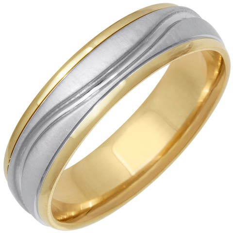 14k Two-Tone Gold Line Accent Comfort Fit Men's Wedding Bands