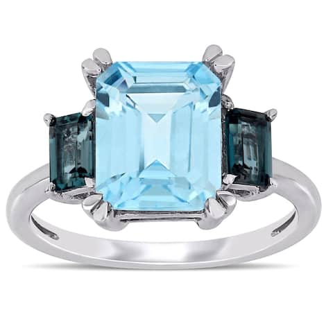 Miadora 14k White Gold Octagon-Cut Sky and London-Blue Topaz 3-Stone Ring