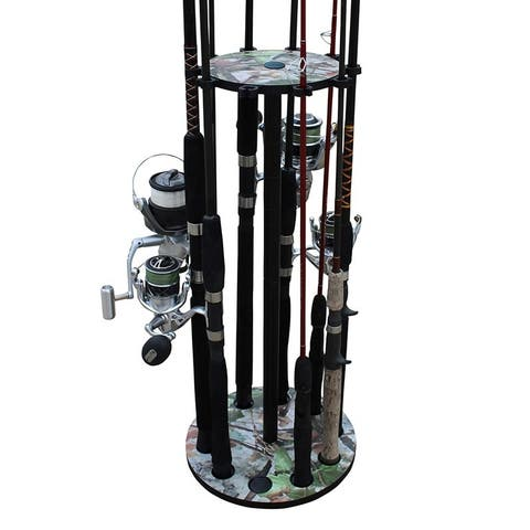 Rush Creek Creations 10 Round Fishing Rod/Pole Storage Floor Rack Camouflage Finish - Convenient Easy Assembly