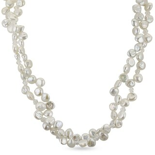 PearLustre By Imperial 18 Sterling Silver Keishi Pearl And Swarovaski Crystal Necklace