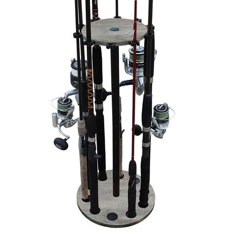 Rush Creek Creations 10 Round Fishing Rod/Pole Storage Floor Rack Barn Wood Finish - Convenient Easy Assembly