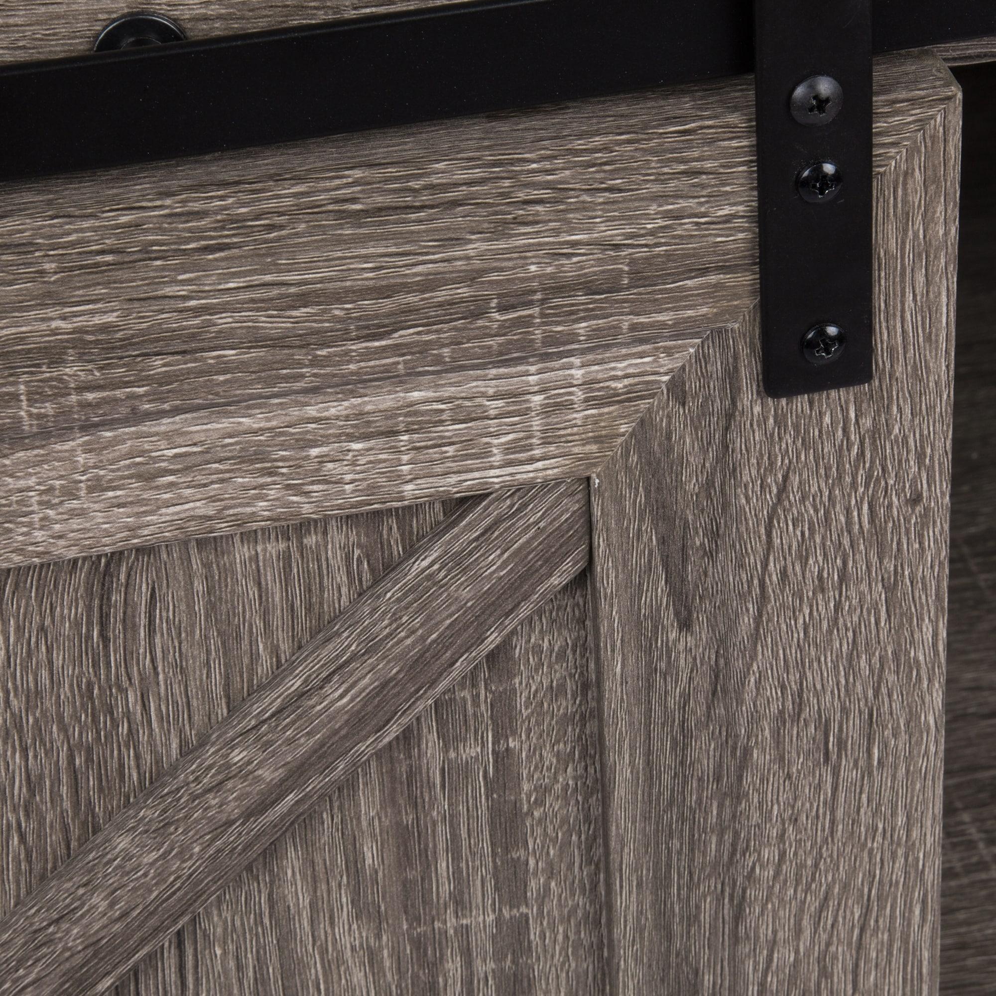 Shop Black Friday Deals On 42 Farmhouse Sliding Barn Door Vanity Faux Cement Top Overstock 27421382