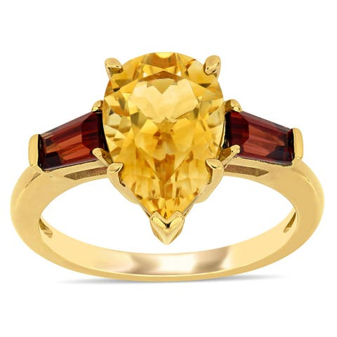 Miadora 14k Yellow Gold Pear and Taper-cut Citrine and Garnet 3-Stone Ring