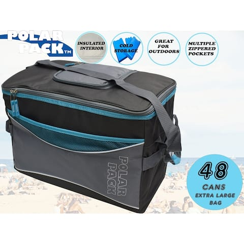 POLAR PACK Large 48 Can Collapsible Cooler Bag Soft Portable Insulated Picnic Outdoor Travel Camping Hiking School & Concerts