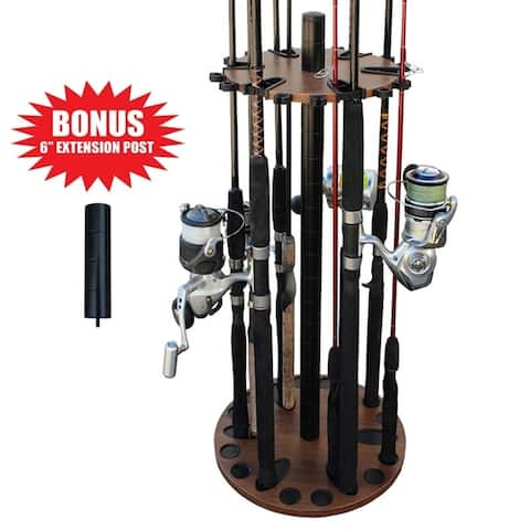 """Rush Creek Creations 24 Round Fishing Rod Storage Floor Rack Dark Walnut Finish - Features Free 6"""" Ext Post - No Tool Assembly"""