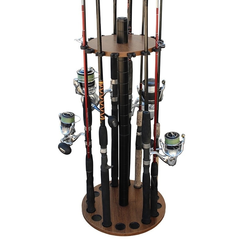 Rush Creek Creations 16 Round Fishing Rod Storage Floor Rack Dark Walnut Finish – Feat Heavy Duty Steel Post – No Tools