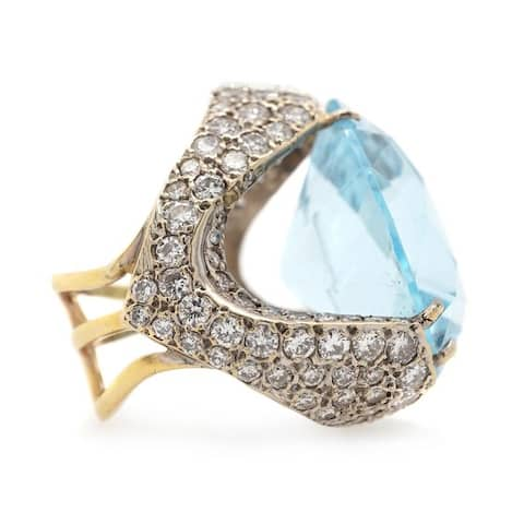 Platinum & 18K Gold Giant Aquamarine Estate Cocktail Ring (I-J,VS1-VS2)