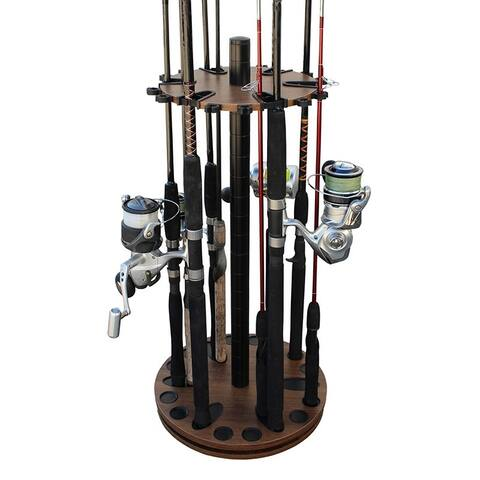 Rush Creek Creations 24 Round Spinning Fishing Rod Storage Floor Rack Dark Walnut Finish - Feat Heavy Duty Steel Post - No Tools