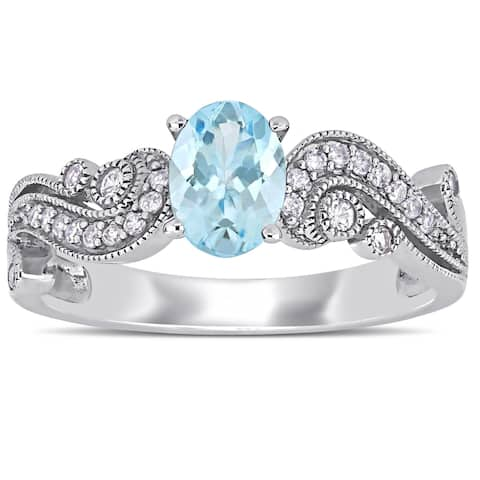 Miadora 10k White Gold Aquamarine White Sapphire and 1/10ct TDW Diamond Filigree Crossover Ring