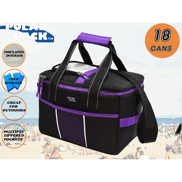POLAR PACK 18 Can Insulated Square Collapsible Soft Cooler Bag Portable Great for travel outdoor indoor beach school and camping