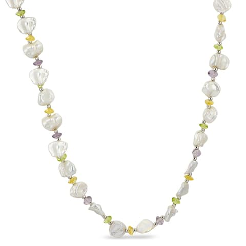 "PearLustre by Imperial 18"" Sterling Silver Keishi Pearl and Gemstone Necklace"