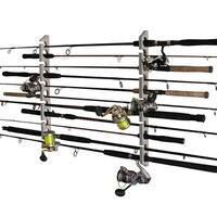 Rush Creek Creations 2 in 1, 11 Fishing Rod/Pole Storage Wall/Ceiling Rack Barn Wood Finish - Convenient Easy Assembly