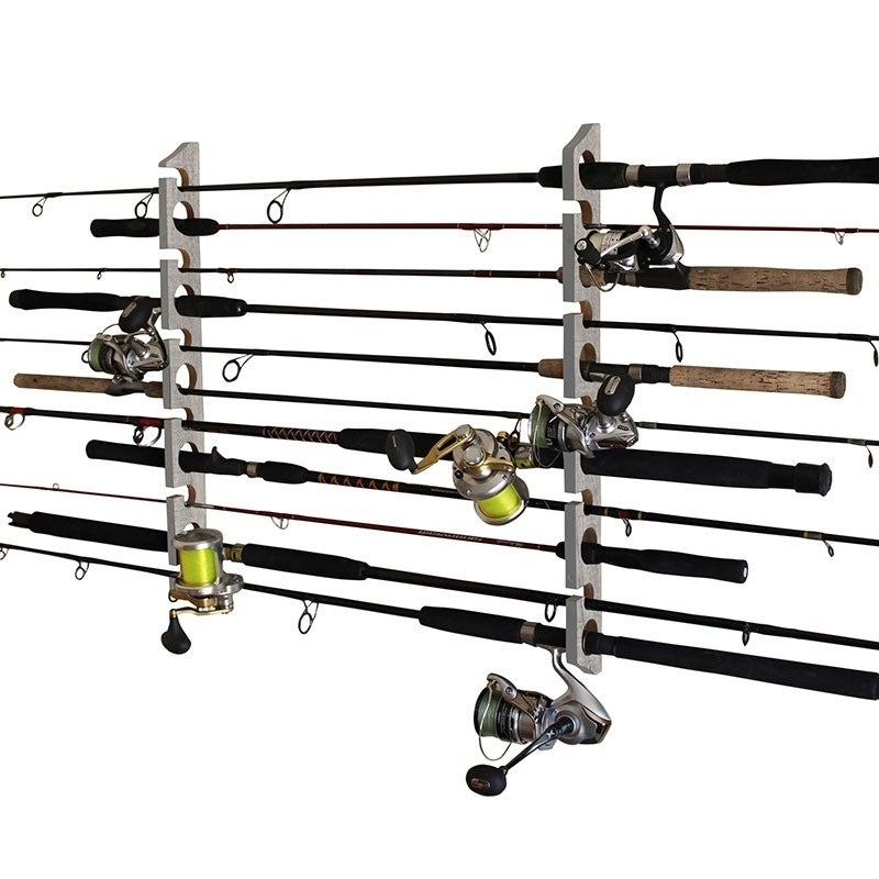 Shop Rush Creek Creations 2 In 1 11 Fishing Rod Pole Storage Wall Ceiling Rack Barn Wood Finish Convenient Easy Assembly Overstock 27422851