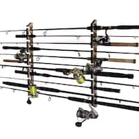 Rush Creek Creations 2 in 1, 11 Fishing Rod/Pole Storage Wall/Ceiling Rack Camouflage  Finish - Convenient Easy Assembly