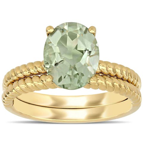 Miadora 14k Yellow Gold Green Amethyst Solitaire Twisted Bridal Ring set