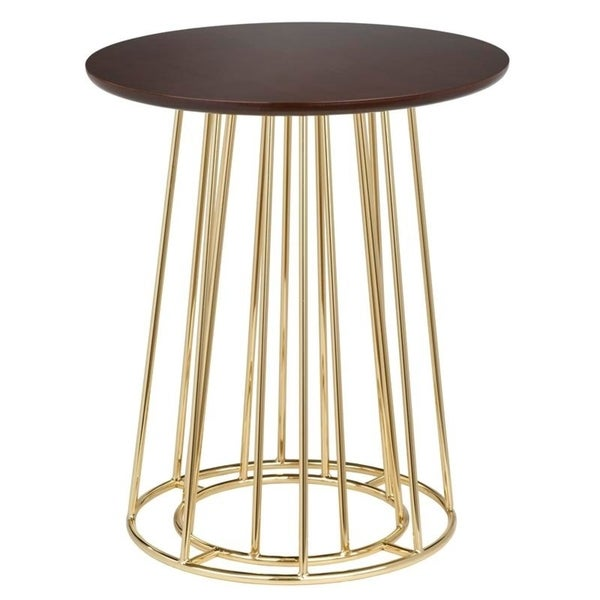 angelo:HOME Yvonne Gold Metal and Wood Side Table
