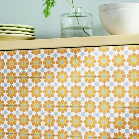 Handmade Ahfir Orange, Yellow, Grey Tile, Pack of 12 (Morocco)