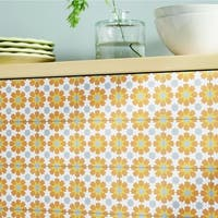 Ahfir in Orange, Yellow, Grey Handmade 8x8-in Moroccan Tile, Pack 12