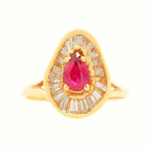 18K Yellow Gold Diamond Ruby Vintage Ballerina Ring (J-K,VS1-VS2)