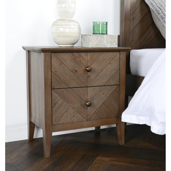 Carson Carrington Nesflaten Reclaimed Pine 2-drawer Nightstand