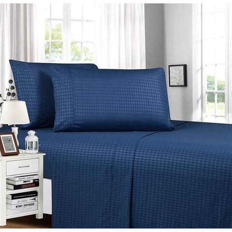Elegant Comfort Diamond Embossed 4-Piece Bed Sheet & Pillowcase Set