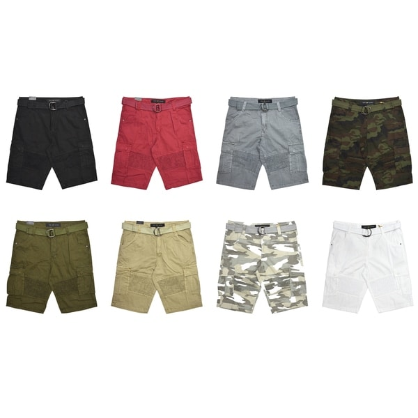 XRAY Mens Zig Zag Belted Cargo Shorts with Hidden Snaps