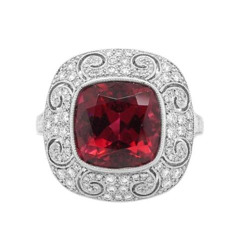 Platinum Diamond Rubellite Estate Cocktail Ring (G-H,VS1-VS2)