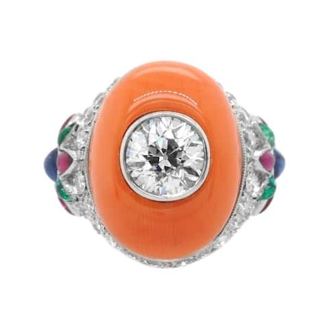 Platinum 3ct Diamond Coral Vintage Cocktail Ring (I-J,VS1-VS2)