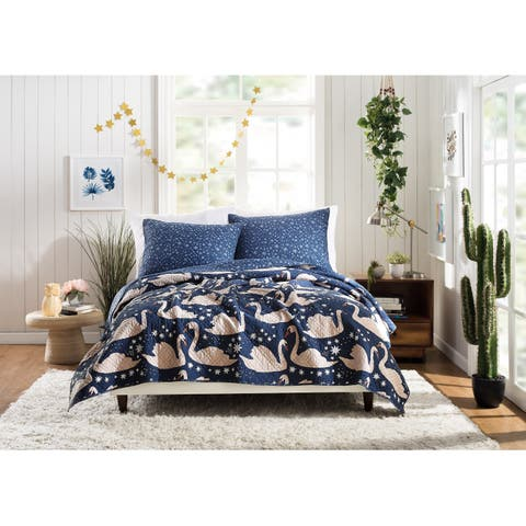 Swanning Around Twin Quilt Set By Hello Lucky, 2 Piece Set
