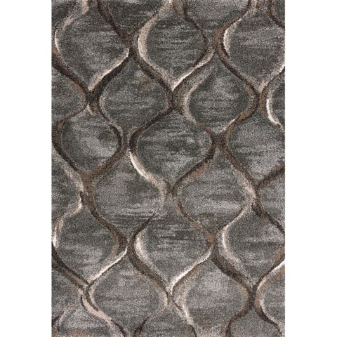 Domani Scene Transitional Charcoal Wave Area Rug