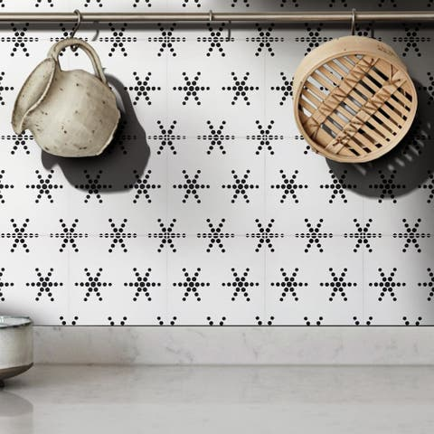 Handmade Paris in White and Black Tile, Pack of 12 (Morocco)