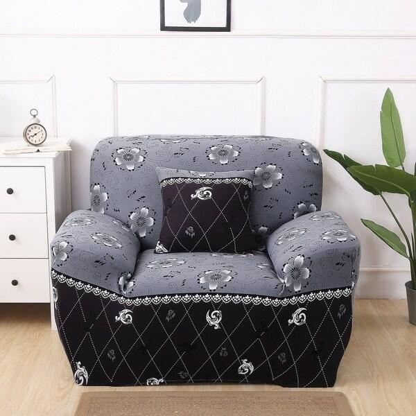 Enova Home Grey Elegant Polyester and Spandex Stretch Washable Box Cushion Armchair Slipcover