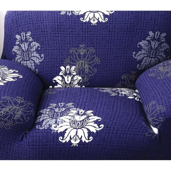 Enova Home Navy Blue Elegant Polyester And Spandex Stretch Washable Box Cushion Armchair Slipcover Overstock 27426921