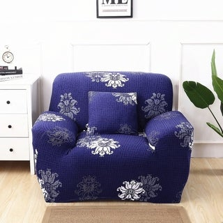 Enova Home Navy Blue Elegant Polyester and Spandex Stretch Washable Box Cushion Armchair Slipcover