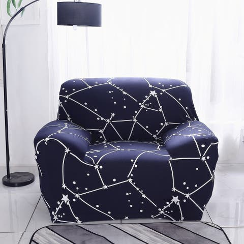 Enova Home Dark Blue Elegant Polyester and Spandex Stretch Washable Box Cushion Armchair Slipcover