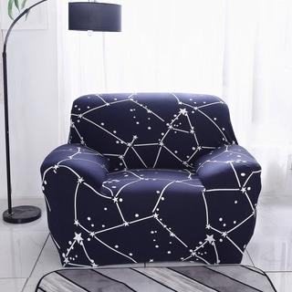 Enova Home Dark Blue Elegant Polyester and Spandex Stretch Washable Box Cushion Armchair Slipcover