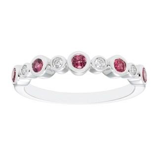 Sterling Silver Pink Tourmaline Diamond Ring