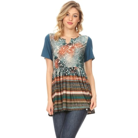 Women's Border Pattern Print Contrast Solid Sleeve Babydoll Tunic Top Blouse Shirt