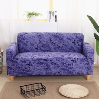Enova Home Blue Elegant Polyester and Spandex Stretch Washable Box Cushion Loveseat Slipcover