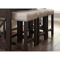 Heatherbrook Charcoal and Ash Upholstered Barstool (As Is Item)