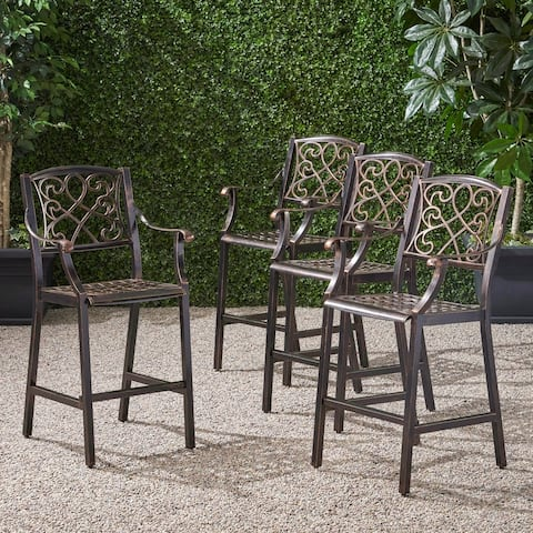 """Waterbury Outdoor 28"""" Aluminum Barstool (Set of 4) by Christopher Knight Home"""