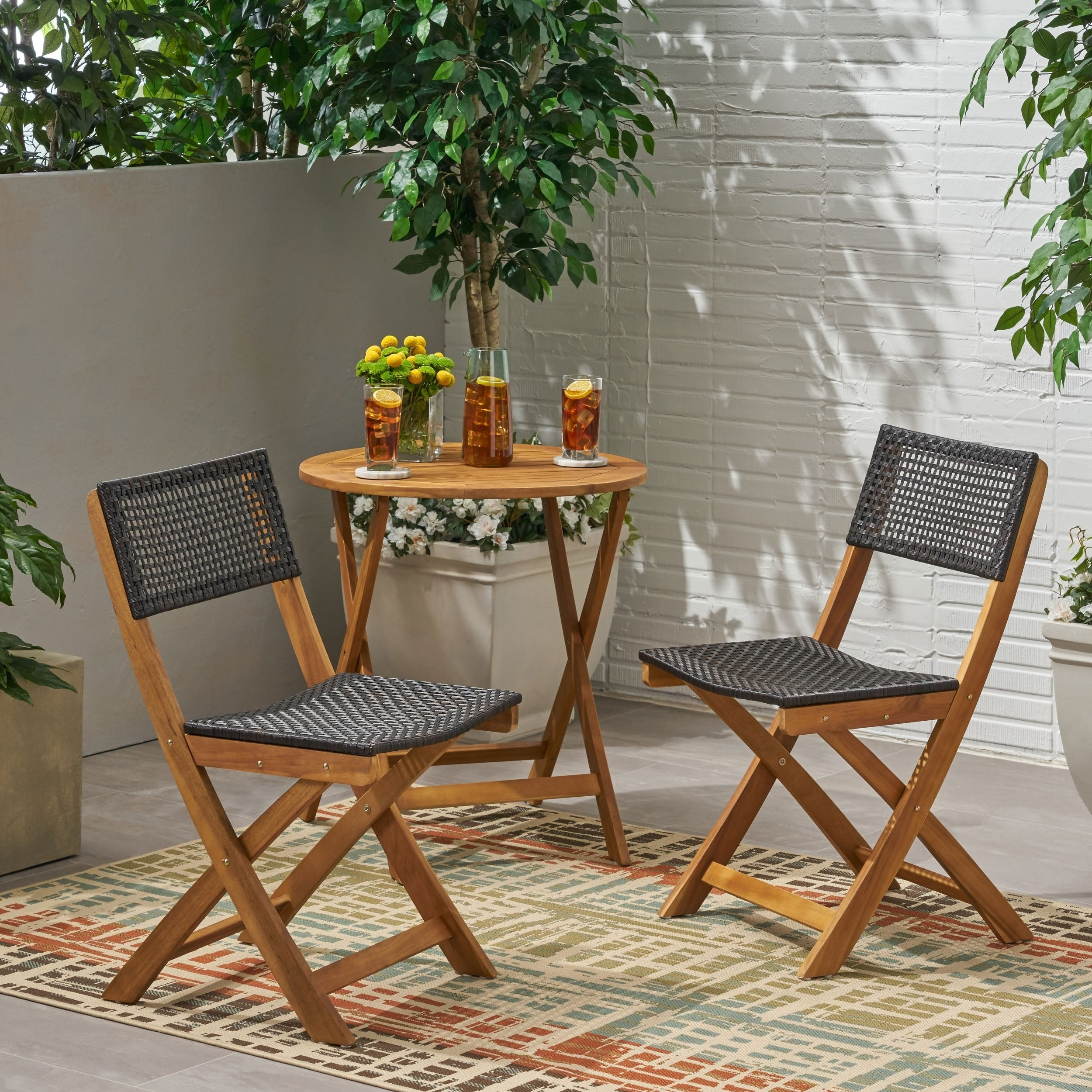Hillside Outdoor Acacia Wood Foldable Bistro Chairs With Wicker Seating Set Of 2 By Christopher Knight Home