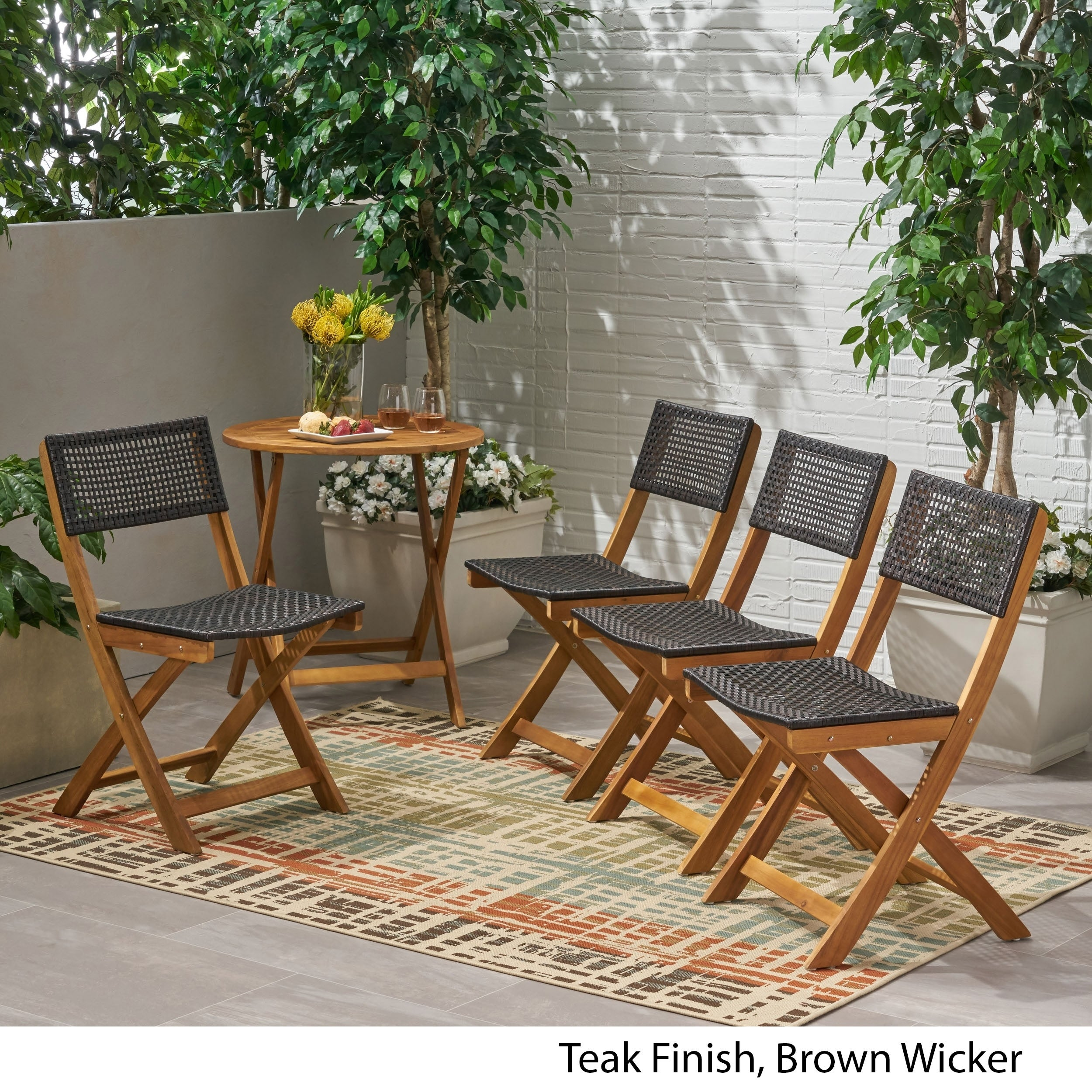 Hillside Outdoor Acacia Wood Foldable Bistro Chairs With Wicker Seating Set Of 4 By Christopher Knight Home