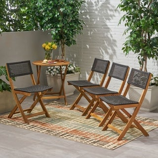 Hillside Outdoor Acacia Wood Foldable Bistro Chairs with Wicker Seating (Set of 4) by Christopher Knight Home