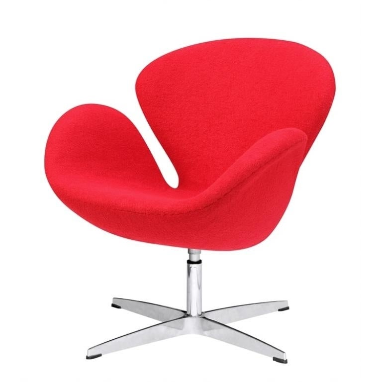Mid-Century Modern Design Replica Swan Chair With Red Cushion  sc 1 st  Overstock.com & Shop Mid-Century Modern Design Replica Swan Chair With Red Cushion ...