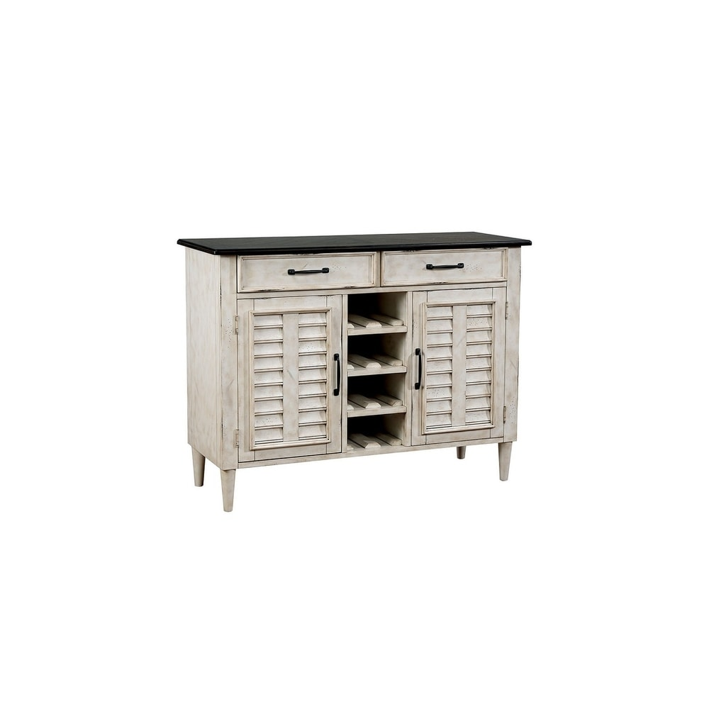 Benzara Rustic Solid Wood Serverr with Louvered Side Door Cabinets, White