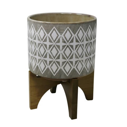 Ceramic Outdoor Citronella Candle in Pot with Wooden Base, Gray and White
